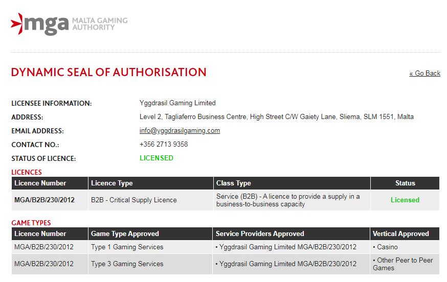 Yggdrasil Gamingライセンス